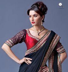 Like: colours (red, navy blue, gold), blouse design (neckline, sleeve length)
