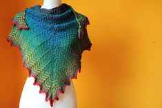 Gallivanter is a dynamic zigzagging triangle for fingering to worsted weight yarn.