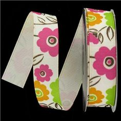 "the Ribbon Boutique 5/8"" Lime, Orange & Pink Flower Grosgrain Ribbon 