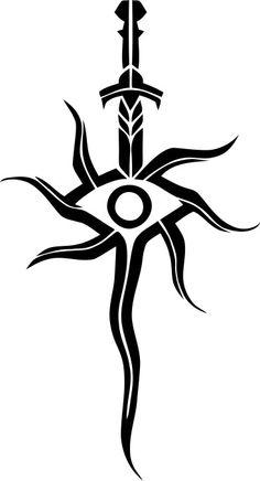 Dragon Age Inqisition Logo Vector by Vanyanie on DeviantArt - Dragon Age Inqisition Logo Vector by Vanyanie Informationen zu Dragon Age Inqisition Logo Vector by - Cool Symbols, Magic Symbols, Tribal Tattoos, Sword Tattoo, Tatoo Henna, Dragon Age Series, Dragon Age Games, Dragon Age Inquisition, Viking Tattoos