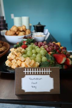 Football Tailgate Food perfect for a Super Bowl Party or Football Bday Party. Easy party food ideas. Tailgate Fruit Tray! Fear the Spear - Football Birthday Party Ideas, Food, Decor and Activities Football Birthday, Football Food, Football Tailgate, Food Themes, Food Ideas, Easy Party Food, Tailgate Food, Edible Arrangements, Health Desserts