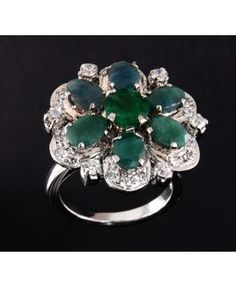 Designer Flower Shaped Emerald Ring With Diamonds