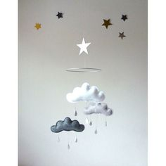 """White and Grey cloud mobile for nursery """"SHINTO"""" with silver star by The Butter Flying-Rain Cloud Mobile Nursery Children Decor"""