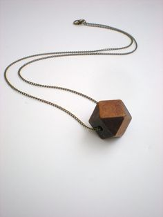 geometric wood bead necklace - I love this. #etsy