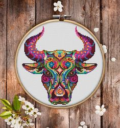 Mandala Bull Cross Stitch Pattern for Instant Download  229