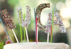 Glitter name cake topper