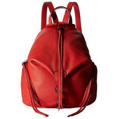 Rebecca Minkoff Medium Julian Backpack (Blood Orange) Backpack Bags ($245) ❤ liked on Polyvore featuring bags, backpacks, rebecca minkoff backpack, leather zip backpack, leather zipper backpack, leather backpack and rebecca minkoff