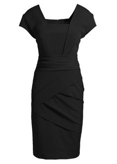 Simple Cap Sleeve Square Neckline Work Dress Black