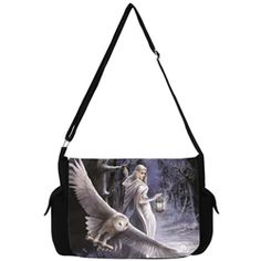 Midnight Messenger Owl Messenger Bag by Anne Stokes -Gothic Printed Backpack Gothic Shoes, Gothic Clothing, Steampunk Fashion, Gothic Fashion, Anne Stokes, Owl Family, Goth Jewelry, Snowy Owl, Black Feathers