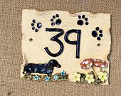 House number plaque, dog design, pottery door number. - pinned by pin4etsy.com