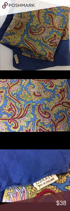 """Vintage Liberty London Paisley Silk Scarf Vintage Liberty paisley silk scarf with cloth label which dates it to the 1950's. Clean with no stains or holes. Measures 26"""" x 26"""" square Liberty London Accessories Scarves & Wraps"""