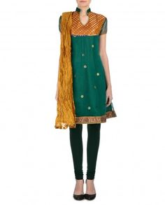 Jungle Green Suit with Crinkled Dupatta