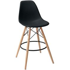 Amazon.com: 2xhome - Set of Two (2) - Grey - Eames Chair Style DSW Molded Plastic Bar Stool Modern Barstool Counter Stools with backs and armless Natural Legs Wood Eiffel Legs Dowel-Leg: Kitchen & Dining