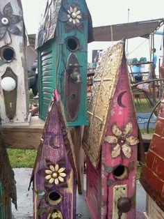 DIY Birdhouses - barn wood and tin crafts