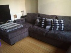 Living Room - Suede, grey L-shaped couch