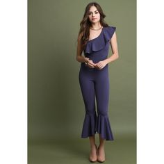 This jumpsuit features an asymmetrical one-shoulder neckline, flutter ruffle tier collar, cinched seam waist, and ruffle bell hemline. Sexy Dresses, Fashion Dresses, Girls Dresses, Boho Fashion, Girl Fashion, Fashion Trends, Top Clothing Stores, Girl Outfits, Cute Outfits