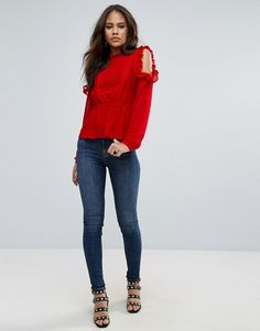 1ceedc29 MOM-top Discover Fashion Online Cold Shoulder Blouse, Lace Insert, Pin  Tucks,