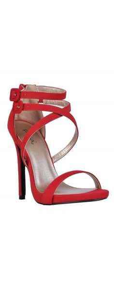 1d41204b90b239 Lily Boutique Strap Happy Banded Open Toe Stiletto in Red