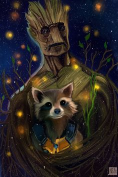 Groot and Rocket - movie is Guardians of the Galaxy 2014 movie fan art