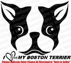 I Love My Boston Terrier Dog Mutt Shelter Rescue Vinyl Car/Wall Decal Sticker