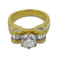 2.50CTW Diamond Ring in 18KT Yellow Gold. $3,495. #diamond #engagement #ring