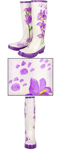 Purple Paw & Flowers Hand-Painted Rain Boots at The Animal Rescu Site. Funds 28 bowls of food.