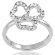 Journee Collection Sterling Silver Cubic Zirconia Clover Ring (Size- 6), Women's, White