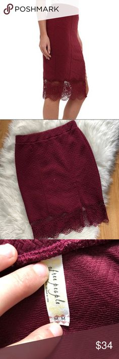 Free People Maroon Lace Crocheted Pencil Skirt Excellent condition with little to no wear and tons of life left! Same day/next day shipping. NO TRADES PLEASE Free People Skirts Pencil