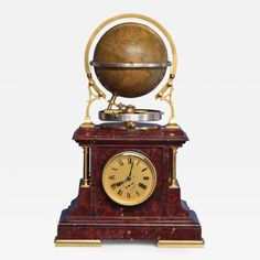 C 1895 French Globe Mantle Clock