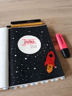 June frontpage bullet journal 2018 space theme Selfmade
