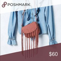 Free People Fringe Crossbody Tan Vegan Leather. Crossbody with flap and zipper. New with tags attached. Free People Bags Crossbody Bags