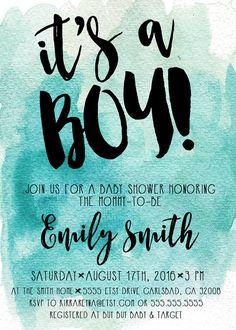 watercolor boy birthday invitation