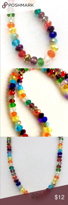 """FUN Crystal Necklace Handcrafted Crystal necklace.  Made entirely of glass crystal beads! Fun, unique, eye catching! Length 18-20"""" inches. Jewelry Necklaces"""