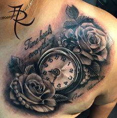 Tattoo antebrazo hombre reloj Ideas - My list of best tattoo models Tatto Clock, Clock And Rose Tattoo, Rose Chest Tattoo, Clock Tattoo Design, Chest Piece Tattoos, Rose Clock, Watch Tattoos, Mom Tattoos, Forearm Tattoos