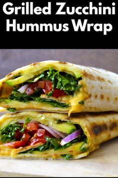 Zucchini Hummus Wrap Fresh veggies are grilled to perfection and packed in this Grilled Zucchini Hummus Wrap! Fresh veggies are grilled to perfection and packed in this Grilled Zucchini Hummus Wrap! Vegetarian Meals For Kids, Vegetarian Breakfast Recipes, Healthy Recipes, Vegetarian Wraps, Keto Recipes, Healthy Food, Vegetarian Sandwiches, Vegetarian Grilling, Going Vegetarian