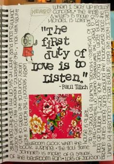 """Listen"" Smash Book page by Michelle LaPoint Rydell at the blog ""Inspiration Everywhere"""