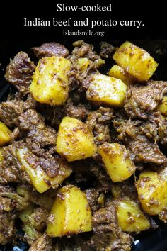 Tasty Indian beef and potato curry- tender meat and potatoes cooked in spices to flavor the dry gravy. this rich curry just needs a few garlic naans, roti or paratha to serve as a meal. Slow-cooked Indian beef and potato curry(aloo gosht) Top Recipes, Indian Food Recipes, Cooking Recipes, Ethnic Recipes, Fast Recipes, Indian Potato Recipes, Cheap Recipes, African Recipes, Cooking Ideas
