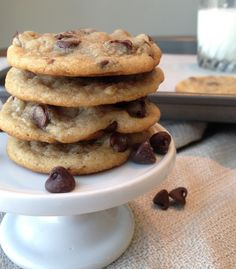 Chewy Chocolate Chip Cookies   crispy around the edges and chewy in the middle! Addicting!