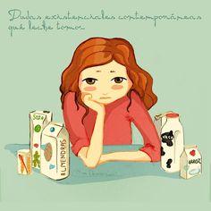 """32 Me gusta, 5 comentarios - Barbara Guillen (@missdemencias) en Instagram: """"Dudas existenciales actuales... que #leche tomo? Qué leches importa 😂 #pensamientosilustrados…"""""""