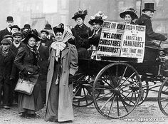 Christabel Pankhurst with a group of suffragettes, London, 1909