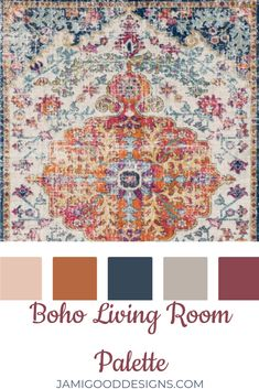 Using this Beautiful Boho Area Rug I was able to make a color palette that you can carry throughout the whole house. Using this Beautiful Boho Area Rug I was able to make a color palette that you can carry throughout the whole house. Make A Color Palette, Paint Color Schemes, Living Room Color Schemes, Room Paint Colors, Paint Colors For Living Room, House Color Schemes Interior, House Color Palettes, Boho Living Room, Bohemian Room