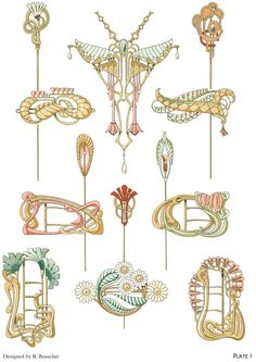 Art nouveau jewelry designs by: rene beauclair - welcome to dover publications - excerpt 1 Motifs Art Nouveau, Bijoux Art Nouveau, Art Nouveau Design, Art Nouveau Jewelry, Jewelry Art, Antique Jewelry, Vintage Jewelry, Silver Jewelry, Jewelry Tattoo