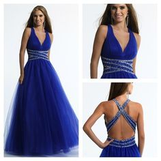 Stunning Floor-Length Blue Halter Deep-V neckline Criss Cross Back Beaded Natural Waistline Homecoming/Evening Dress 2014 $189.99