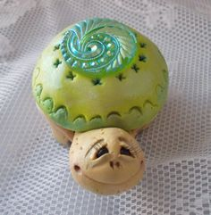 Green Button Polymer Clay Turtle