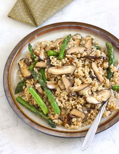 Shiitake Mushroom Brown Rice with Crispy Ginger by SeasonWithSpice.com