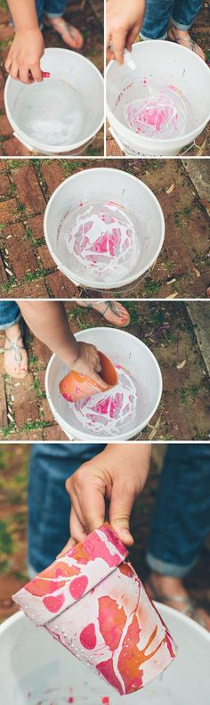 Fill Bucket With water and pour some nail polish or airplane model paint in it. Submerge pot in bucket of water and pull out. Let dry.
