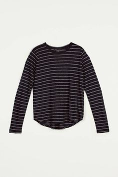 Vince — Linen Striped Long Sleeved Tee H Coastal/H Grey — THE LINE