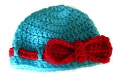 Baby Girl Hat with Red Bow Newborn Girl Photography by makinitmama, $16.00