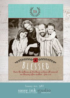 Blessed Christmas Photo Card Template no. 98  by SassyInkStudio