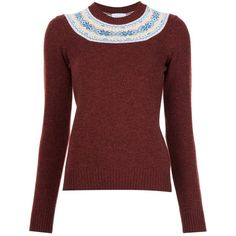 Barrie cashmere fair isle jumper ($880) ❤ liked on Polyvore featuring tops, sweaters, red, red jumper, wool cashmere sweater, burgundy sweater, fairisle sweater and burgundy top